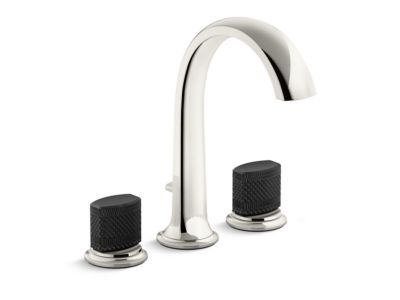Deck-Mount Bath Faucet with Diverter, Matte Black Porcelain Knob Handles