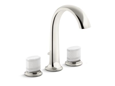 Deck-Mount Bath Faucet with Diverter, White Porcelain Knob Handles