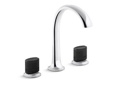 Sink Faucet, Arch Spout, Matte Black Porcelain Knob Handles