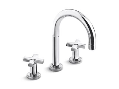 Deck-Mount Bath Faucet, Cross Handles