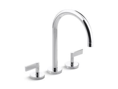 Deck-Mount Bath Faucet, Gooseneck Spout, Lever Handles