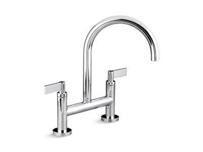 Deck-Mounted Bridge Kitchen Faucet, Lever Handles