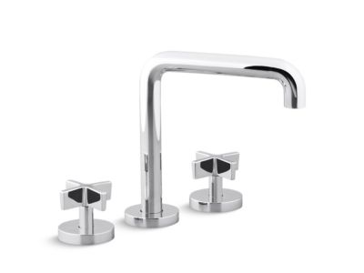 Deck-Mount Bath Faucet, Tall-Spout, Cross Handles