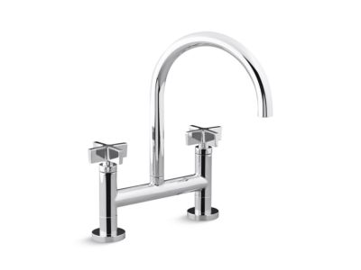 Deck-Mounted Bridge Kitchen Faucet, Cross Handles