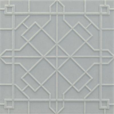 "4-1/4"" x 4-1/4"" modern fretwork field in hudson blue matte"