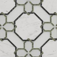 renwick grande mosaic in diamond white clear glass, diamond white frost glass, statuario in polished finish, avocado and verde dark in honed finish