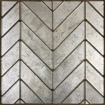 Lucian Metallic Chevron mosaic in Pewter