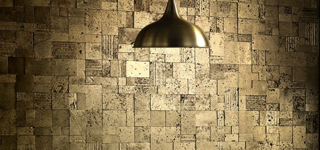 random mosaic in gold with Baker Athens by Thomas Pheasant lounge chair (photographer: Michael Jones)