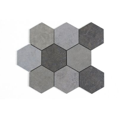 "Melange Gris 4"" Hexagon Mosaic in a blend of Bateig Blue (honed), Saint Louis (Linen) and Cote d'Azure (leather)"