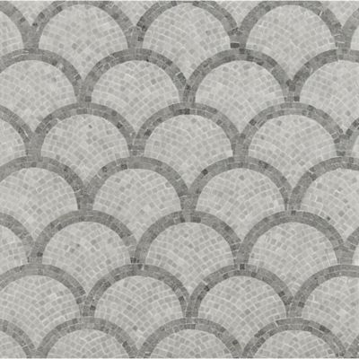 fishscale mosaic with bardiglio imperial marble in hammered finish and bianco carrara marble in honed finish