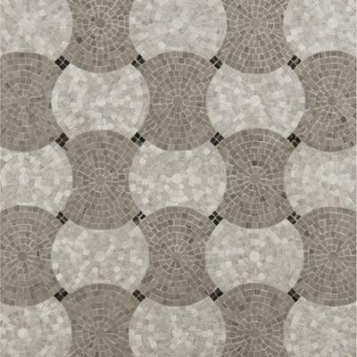 interlocking circle mosaic with dark marrone marble in polished finish, athens silver cream marble in honed finish and athens grey marble in honed finish