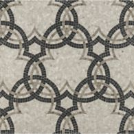 trifoil mosaic with eclipse marble in honed finish (thick outline), athens grey marble in honed finish (thin outline) and athens silver cream marble in honed finish (background)