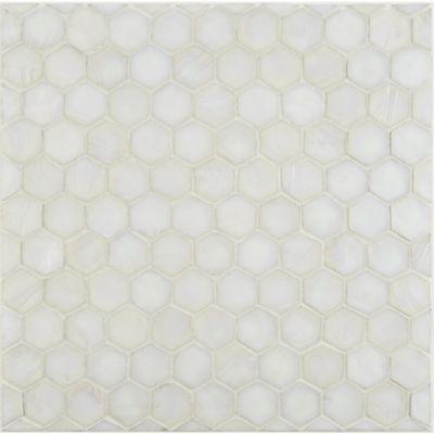 "3/4"" hexagon mosaic in whitecap non irid"