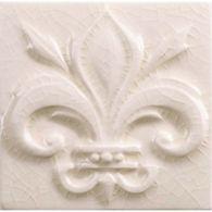 """4"""" x 4"""" fleur de lis decorative tile in cream crackle"""