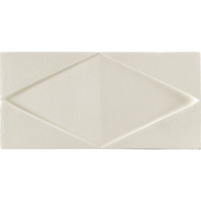 "3"" x 4"" folded diamond decorative tile in cream crackle"