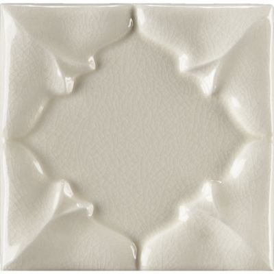 "4"" x 4"" folded petal decorative tile in cream crackle"