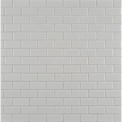 "7/8"" x 1-7/8"" brick offset mosaic in paperwhite"