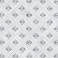 ricochet mosaic in carrara, standard thassos and bardiglio