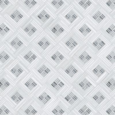 ricochet mosaic in carrara, standard thassos and bardiglio
