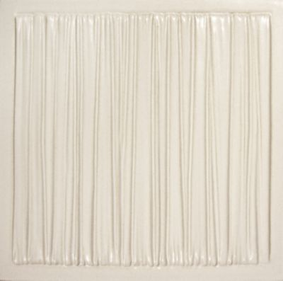"Tableau by Kelly Wearstler 9"" x 9"" Coastal field tile in White Shimmer"