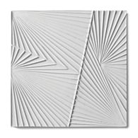 "Tableau by Kelly Wearstler 9"" x 9"" Horizon 2 field tile in White Shimmer"