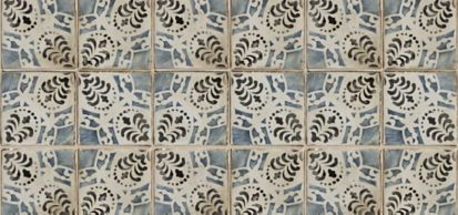 "4-5/8"" x 4-5/8"" la spezia 6 decorative tile in charcoal, off white and royal blue"