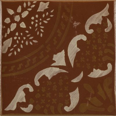"4-5/8"" x 4-5/8"" gitanos 5 decorative tile in paprika, vanilla and honey"