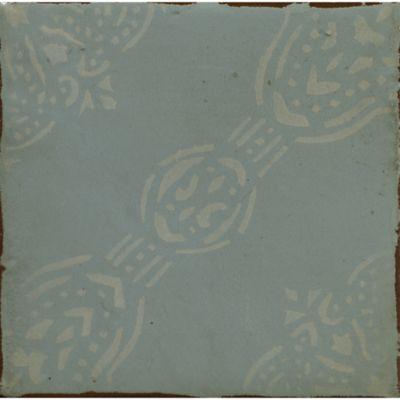 """4-5/8"""" x 4-5/8"""" la spezia 5 decorative tile in aqua and off white"""