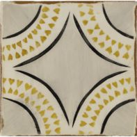 "4-5/8"" x 4-5/8"" magreb 16 decorative tile in off white, grey, ochre and charcoal"