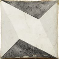 "4-5/8"" x 4-5/8"" yaffo 4 decorative tile in charcoal, grey and off white"