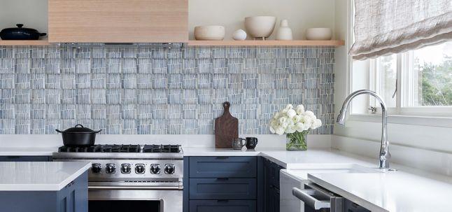 "4-5/8"" x 4-5/8"" la spezia 6 decorative tile in charcoal, off white and royal blue"