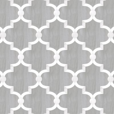 "Union Arabian 48"" x 48"" pattern repeat in Parquet Gris, Statuary Mist, and Thassos Standard"
