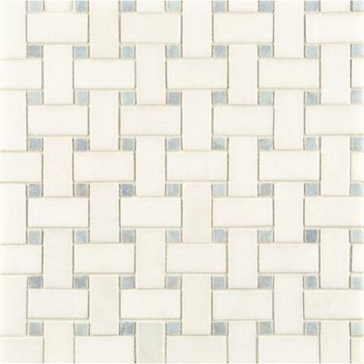 White Thos Blue Celeste Basketweave Mosaic In Honed Finish