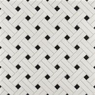 white thassos/nero diagonal weave mosaic in honed finish