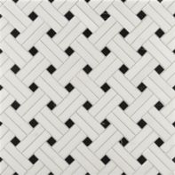 white thassos/nero diagonal weave mosaic in honed finish