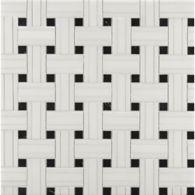 white thassos/nero tri-weave mosaic in honed finish