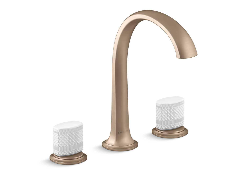 Script Sink Faucet, Arch Spout, White Porcelain Knob Handles ...