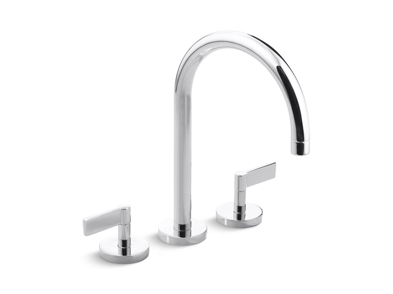 Bathroom Faucet Gooseneck one deck-mount bath faucet, gooseneck spout, lever handles