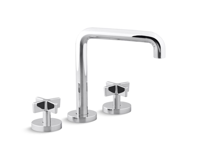 Bathroom Faucet Cross Handles one deck-mount bath faucet, tall-spout, cross handles   p24405-cr