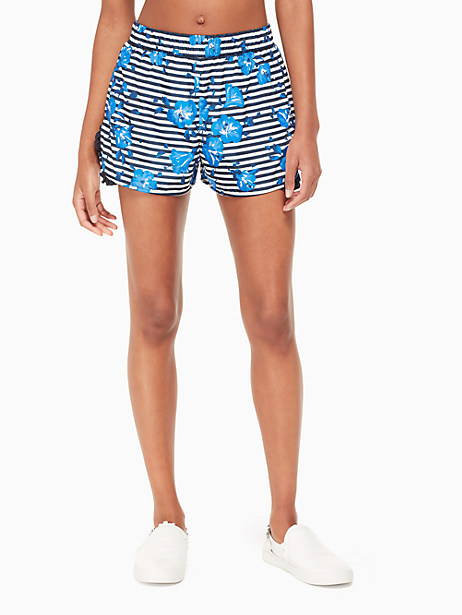 Hibiscus-Print Striped Frill Active Shorts in Rich Navy