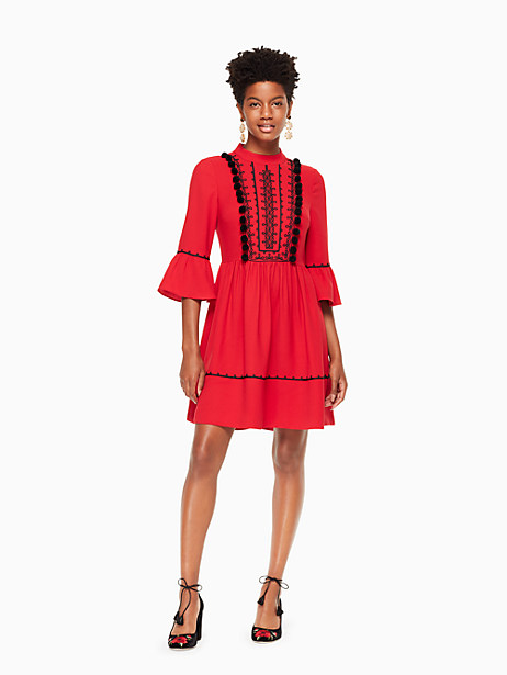 49b2dffcc67 Kate Spade Pom Embroidered Mini Dress In Charm Red