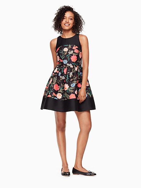 Kate Spade Blossom Mikado Mini Dress In Black