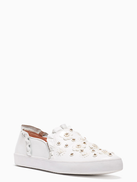 Louise Floral-Embellished Sneaker, White