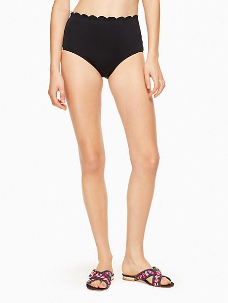 High-Waist Scalloped Bikini Bottoms Women'S Swimsuit, Black