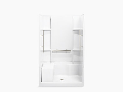 Accord 48 X 36 Seated Shower With Matte Silver Grab Bars 72280103 V 0