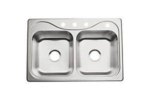 "Southhaven® Double-basin Kitchen Sink, 33"" x 22"" x 7"""