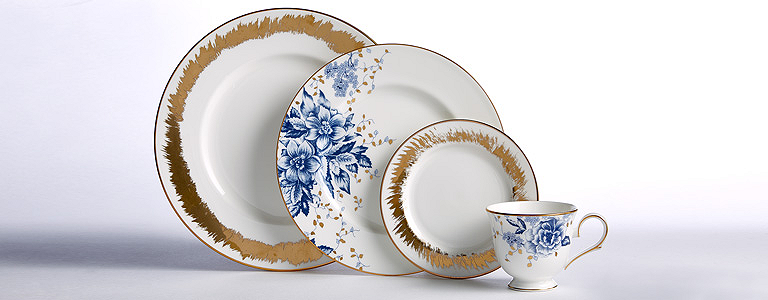 We all know blue and gold are classic but here the look is totally contemporary. The edgy gold splash on the dinner and tidbit plates sets off the ...  sc 1 st  Lenox : dinnerware mix and match - pezcame.com