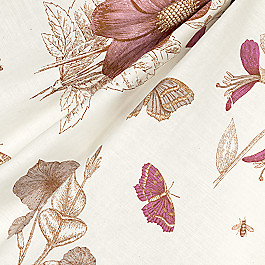 Sketched Pink Floral Fabric Wilder-Nest Orchid