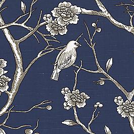 Navy Blue Chinoiserie Fabric Vintage Blossom Twilight