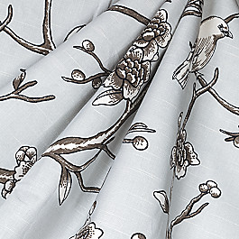 Gray Modern Chinoiserie Fabric Vintage Blossom Dove